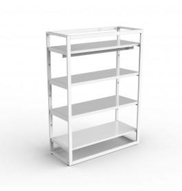 Middenunit Bigshop kit8875 - H1450 - 1 span - wit met 4 witte glossy planken en confectiestang