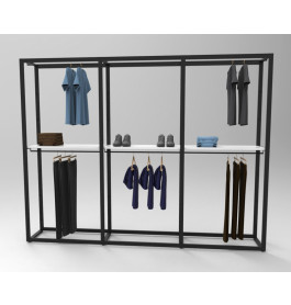 Bigshop kit - H2400 - 3 span - zwart met witte glossy planken