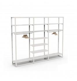 Bigshop kit8802 - H2400 - 3 span - wit met 12 witte glossy planken
