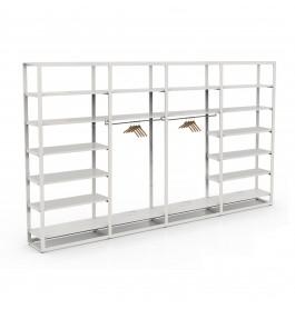 Bigshop kit8805 - H2400 - 4 span - wit met 18 witte glossy planken
