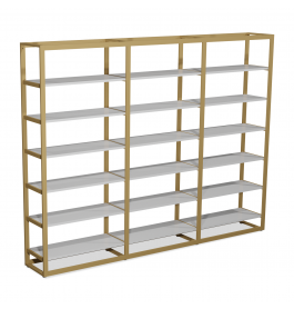 Bigshop kit8802 - H2400 - 3 span - goud met 18 witte planken