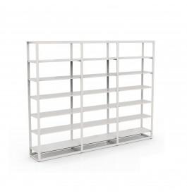 Bigshop kit8802 - H2400 - 3 span - wit met 15 witte glossy planken