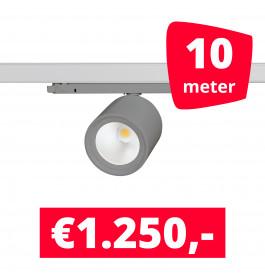 LED Railverlichting BS020 Grijs 10 spots + 10M rails