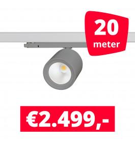 LED Railverlichting BS020 Grijs 20 spots + 20M rails