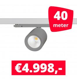 LED Railverlichting BS020 Grijs 40 spots + 40M rails