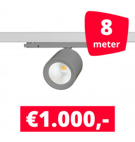 LED Railverlichting BS020 Grijs 8 spots + 8M rails