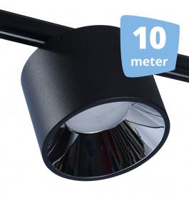 LED midden RAILVERLICHTING BUSS zwart 10 SPOTS + 10M RAILS