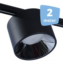 LED midden RAILVERLICHTING BUSS zwart 2 SPOTS + 2M RAILS