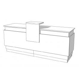Toonbank met verschillende vakken en lades met slot C-PAS-001
