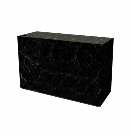 Marmeren glossy toonbank meubel zwart/goud 150 cm breed