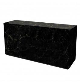 Marmeren glossy toonbank meubel zwart/goud 200 cm breed