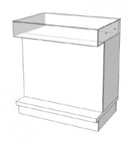 Super high glossy toonbank wit met glazen toonvak 90 cm C-PEC-003