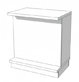 Super high glossy toonbank wit met planken 90 cm C-PEC-004
