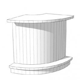 Super high glossy toonbank wit rond met plankenvak 90 cm C-PEC-008