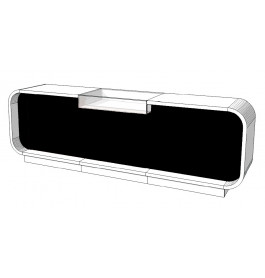 Super high glossy toonbank duotone C-PEC-015-COMP 310 cm zwart