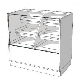 Toonbank met vitrineruimte met stapsgewijze lades C-PEK-003