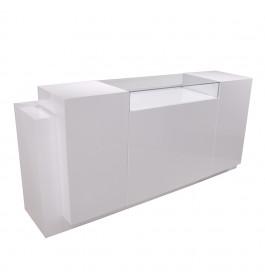 Super high glossy toonbank wit met vitrineglas 230 cm