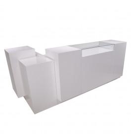 Super high glossy toonbank wit met vitrineglas 280 cm