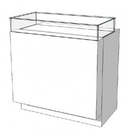 SUPER HIGH GLOSSY toonbank wit met vitrinelade 100 cm