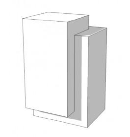 SUPER HIGH GLOSSY TOONBANK wit met plank rechts 65 cm