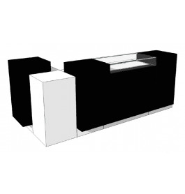 Super high glossy combi zwart/wit toonbank met vitrineglas 280 cm