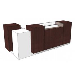 Super high glossy combi toonbank met vitrineglas 280 cm