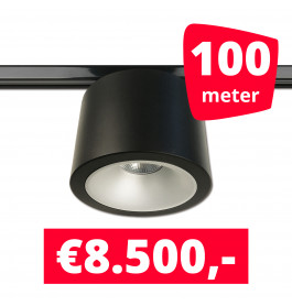 LED RAILVERLICHTING CAN ZWART 100 SPOTS 3000K + 100M RAILS