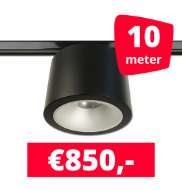 LED RAILVERLICHTING CAN ZWART 10 SPOTS 3000K + 10M RAILS