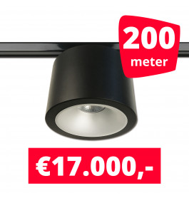 LED RAILVERLICHTING CAN ZWART 200 SPOTS 3000K + 200M RAILS