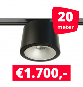 LED RAILVERLICHTING CAN ZWART 20 SPOTS 3000K + 20M RAILS
