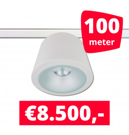 LED RAILVERLICHTING CAN WIT 100 SPOTS 3000K + 100M RAILS