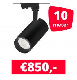 LED Railverlichting Cayena Zwart 10 spots + 10M rails