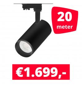 LED Railverlichting Cayena Zwart 20 spots + 20M rails