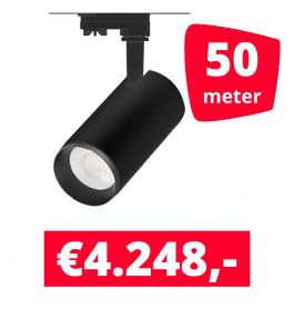 LED Railverlichting Cayena Zwart 50 spots + 50M rails