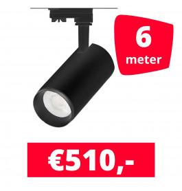 LED Railverlichting Cayena Zwart 6 spots + 6M rails