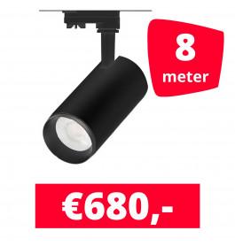 LED Railverlichting Cayena Zwart 8 spots + 8M rails