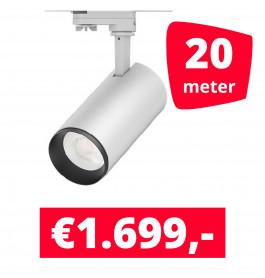 LED Railverlichting Cayena Wit 20 spots + 20M rails