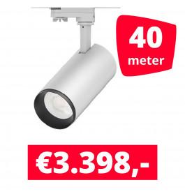 LED Railverlichting Cayena Wit 40 spots + 40M rails