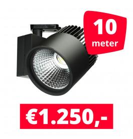 LED Railverlichting Concentra Zwart 3000K 10 spots + 10M rails