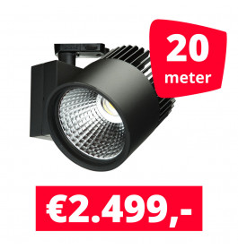 LED Railverlichting Concentra Zwart 3000K 20 spots + 20M rails