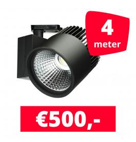 LED Railverlichting Concentra Zwart 3000K 4 spots + 4M rails