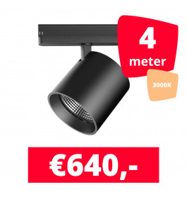 LED Railverlichting DiabloL Zwart 3000K 4 spots + 4M rails