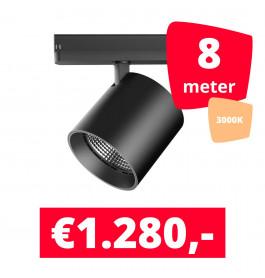LED Railverlichting DiabloL Zwart 3000K 8 spots + 8M rails