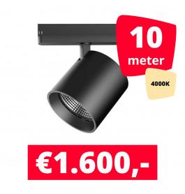 LED Railverlichting DiabloL Zwart 4000K 10 spots + 10M rails
