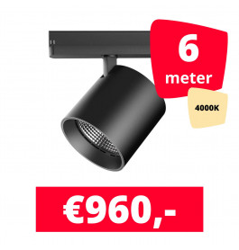 LED Railverlichting DiabloL Zwart 4000K 6 spots + 6M rails