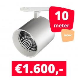 LED Railverlichting DiabloL Wit 3000K 10 spots + 10M rails