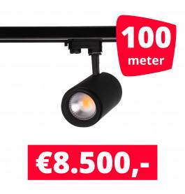 LED Railverlichting Easy Focus 25W Zwart 100 spots + 100M rails