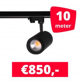 LED Railverlichting Easy Focus 25W Zwart 10 spots + 10M rails