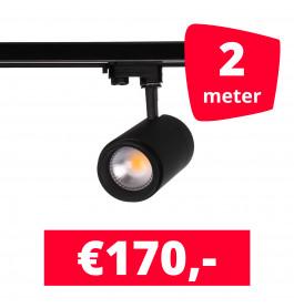 LED Railverlichting Easy Focus 25W Zwart 2 spots + 2M rails