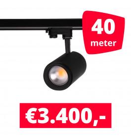 LED Railverlichting Easy Focus 25W Zwart 40 spots + 40M rails